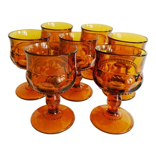 1960s Amber King's Crown Glass Cordial Dessert Glasses - Set of 7 For Sale