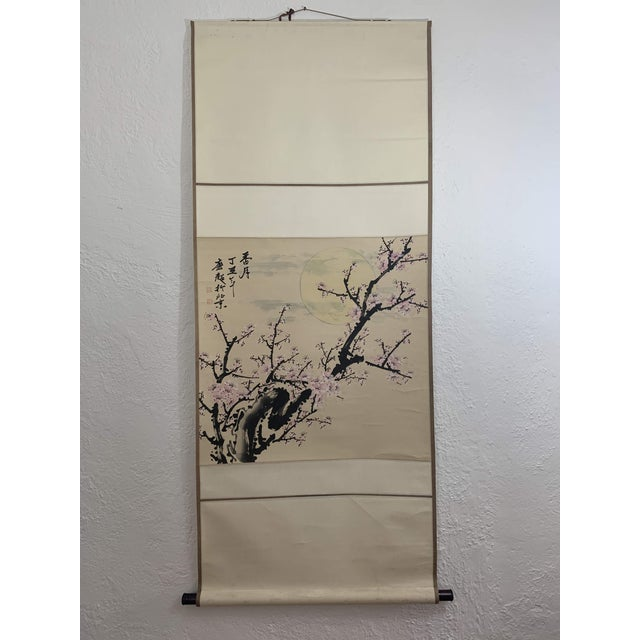 Lovely hanging Chinese scroll showing auspicous Cherry Blossom tree with moon and clouds. Exquisite hand painting shows...