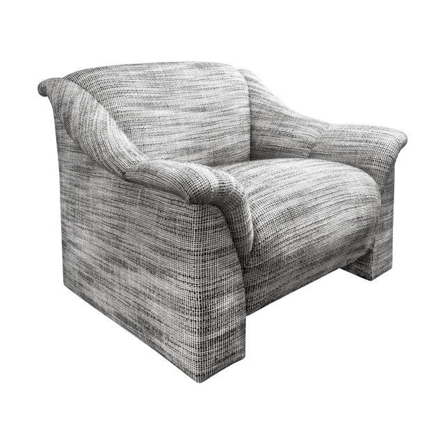 1970s 1970s Modernist Lounge Chair in Black and White Wool Basketweave Upholstery For Sale - Image 5 of 5