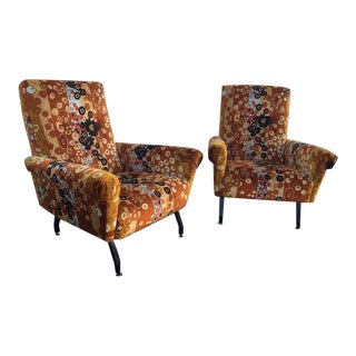 Pair of Original Italian Mid-Century Armchairs with Iconic J. Larsen Fabric For Sale