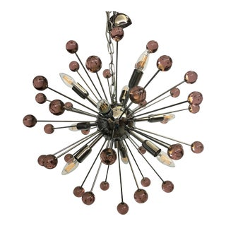 Murano Glass Chandelier in Sputnik Style With a Chrome Frame For Sale