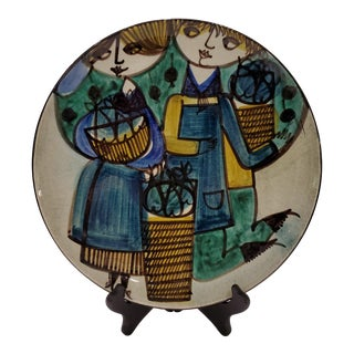 Mid-Century Modern Hand-Painted Decorative Plate For Sale