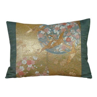 """Cranes in Flight"" Gold Metallic and Silk Japanese Obi Lumbar Pillow Cover For Sale"