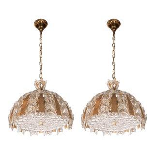 Pair of Crystal and Gilded Brass Chandeliers by Palwa of Germany For Sale