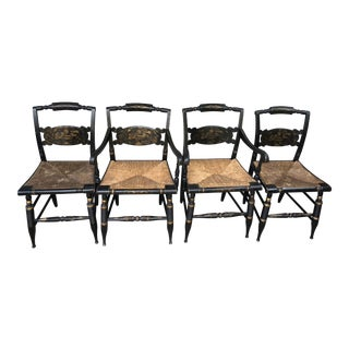 1970's Vintage Hitchcock Gold on Black Stenciled Rush Seat Chairs- Set of 4