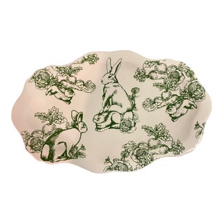 J. Willfred Large Green & White Bunny Toile Platter For Sale