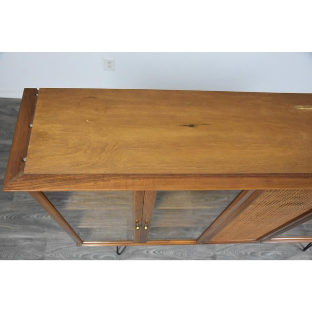 Walnut and Cane Mid Century Bookcase For Sale In Boston - Image 6 of 11