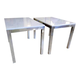 EnMilo Baughman Style, Chrome Frame Marble Top End Tables - a Pair For Sale