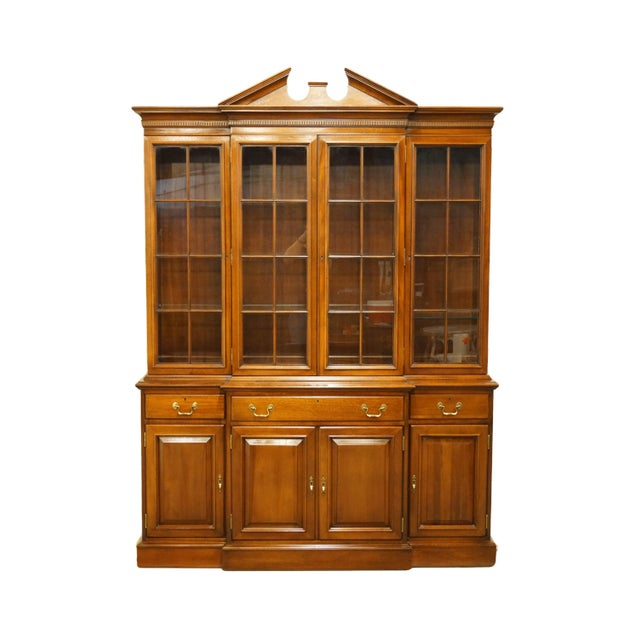 Link Taylor Furniture Solid Mahogany Chippendale Traditional Breakfront Display China Cabinet For Sale - Image 13 of 13