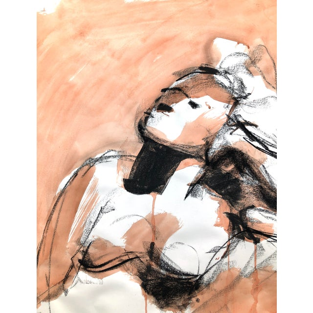 """Contemporary Figure Drawing in Orange and Black, """"Gloria Gesture in Orange"""" by David O. Smith For Sale - Image 10 of 12"""