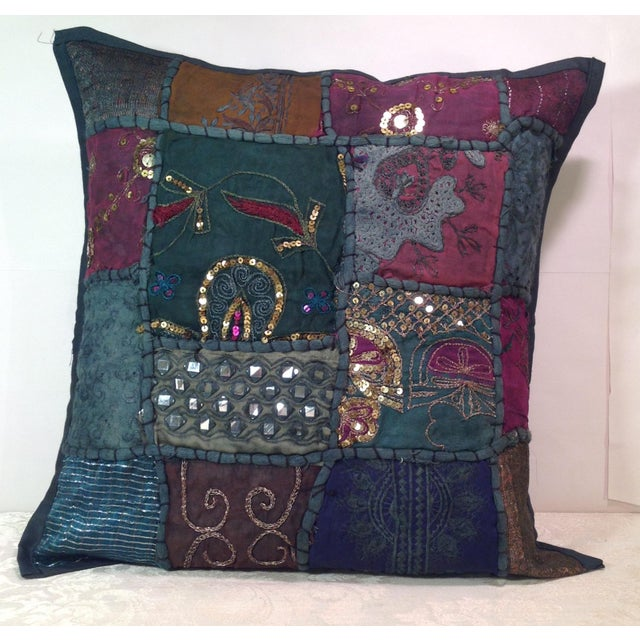 Boho Tribal Block Print Textile Artistic Pillow - Image 2 of 5