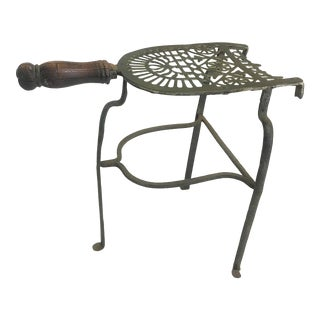 19th Century Hand Forged Iron and Brass Fireplace Footman With Walnut Handle For Sale
