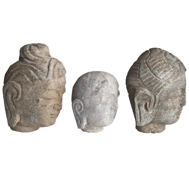 Stone Buddha Heads - Set of 3 - Image 2 of 3