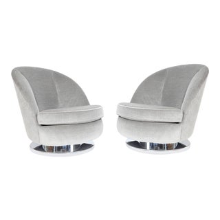 Milo Baughman Tilt and Swivel Lounge Chairs in Grey - A Pair For Sale
