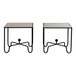 'Entretoise' Wrought Iron and Honed Marble Side Tables by Design Frères - a Pair For Sale