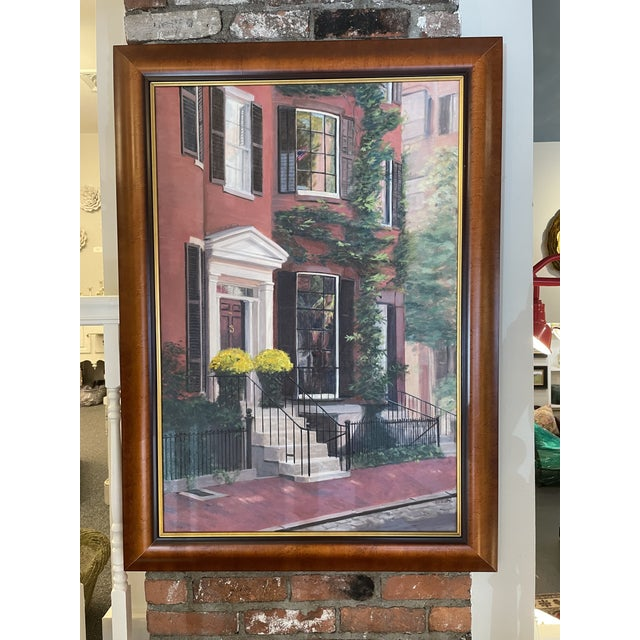 The is a lovely oil on canvas painting depicting a gorgeous Louisburg Square Home located in charming Beacon Hill Boston....