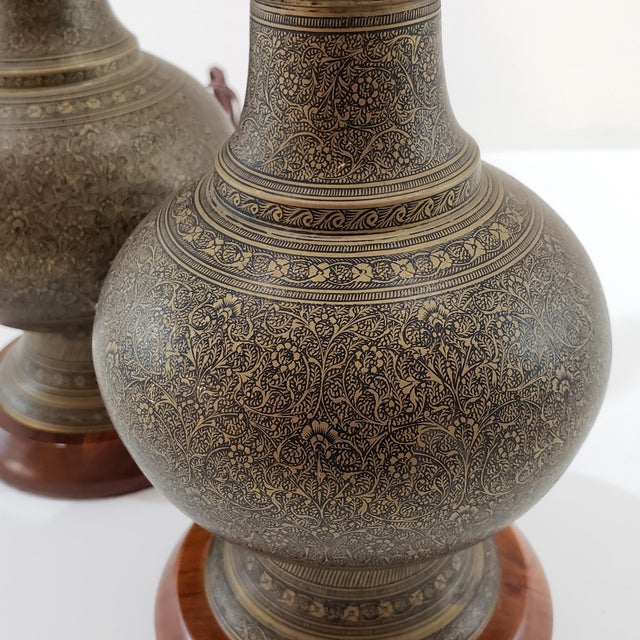 1950s Mid-Century Arabesque Brass Lamps - a Pair For Sale - Image 5 of 13