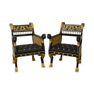 Regency Style Ebonized & Partial Gilt Lion Head Arm Chairs - A Pair For Sale