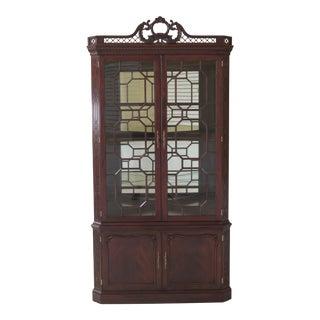 Henkel Harris Model #1192 Chippendale Mahogany Corner Cabinet For Sale