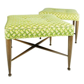 Edward Wormley for Dunbar Square Upholstered Benches - a Pair For Sale