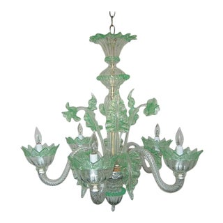 Chandelier Vintage Murano Glass Clear Green For Sale