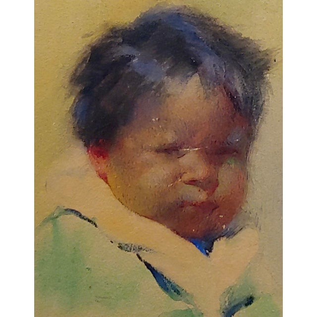 1916 Taos Painting, Portrait of a Pueblo Boy by Gerald Cassidy For Sale - Image 4 of 10