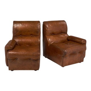 Cognac Leather Mid-Century Loveseat/Armchairs For Sale
