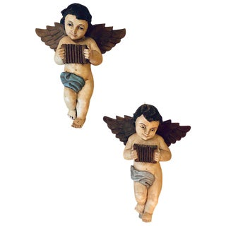 19th-20th Century Continental Painted Antique Winged Babies or Cherubs - A Pair For Sale