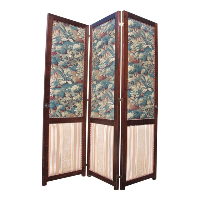 Antique Fabric Covered Folding Screen For Sale