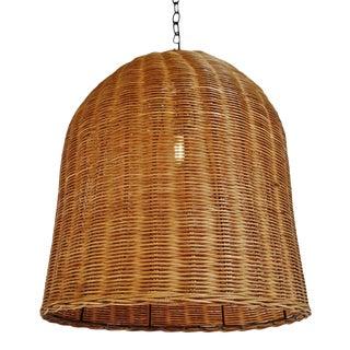 Tea Stain Wicker Dome Lantern For Sale