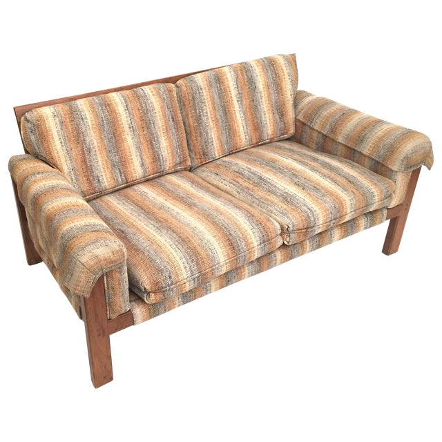 1970's Loveseat with Original Neutral Upholstery - Image 1 of 5