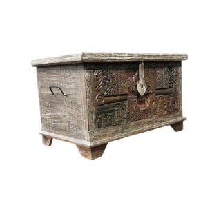 Vintage Artisan Block Trunk Chest Coffee Table For Sale