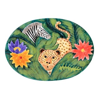 Ceramic Green Serving Platter Bella Casa by Ganz For Sale