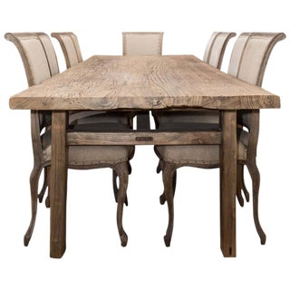 Antique Elm Country Dining Table with Ten Chairs For Sale