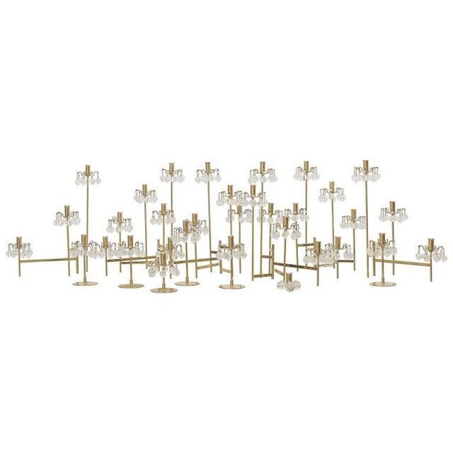 J. & L. Lobmeyr Brass and Swarovski Crystal Candlesticks - 15 Piece For Sale - Image 11 of 11