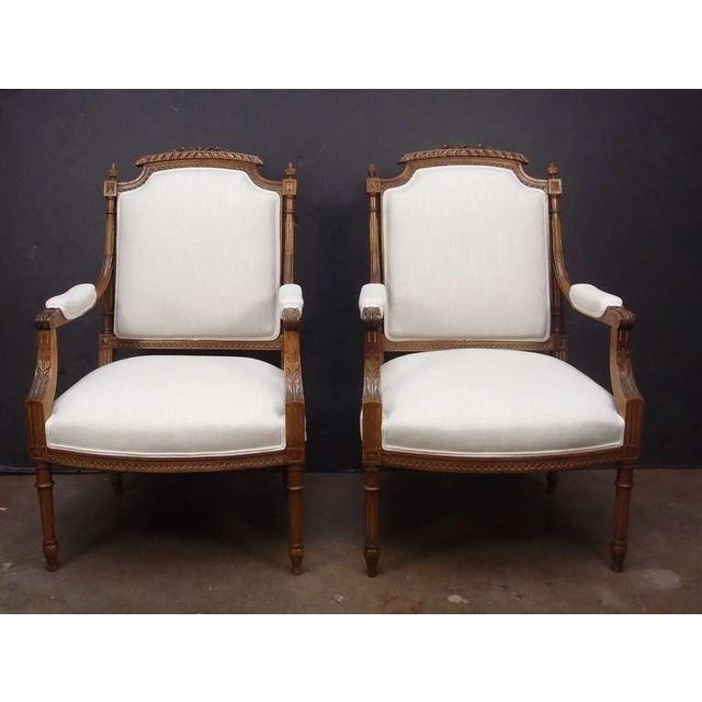 Louis XVI A Pair of French Louis XVI Style Fateuils For Sale - Image 3 of 7