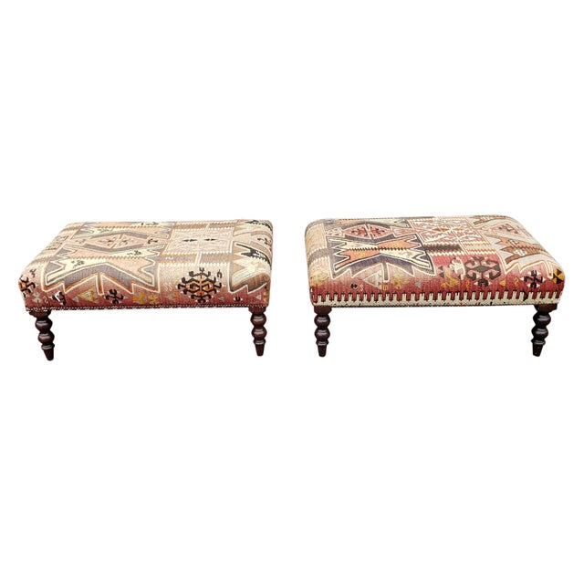George Smith Ltd Signature Stool Kilim Ottomans - a Pair For Sale In Portland, OR - Image 6 of 7