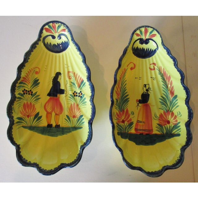 Hand Painted French Quimper Shell Dishes - A Pair - Image 2 of 5