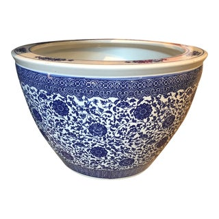 Chinese Porcelain Blue and White Planter For Sale