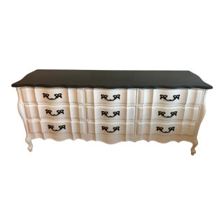 French Provincial Black And White Dresser For Sale