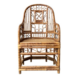 Vintage Brighton Pavilion Style High Back Chippendale Bamboo Chair