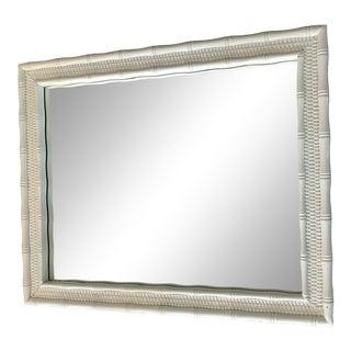 White Rattan Wicker Faux Bamboo Mirror For Sale