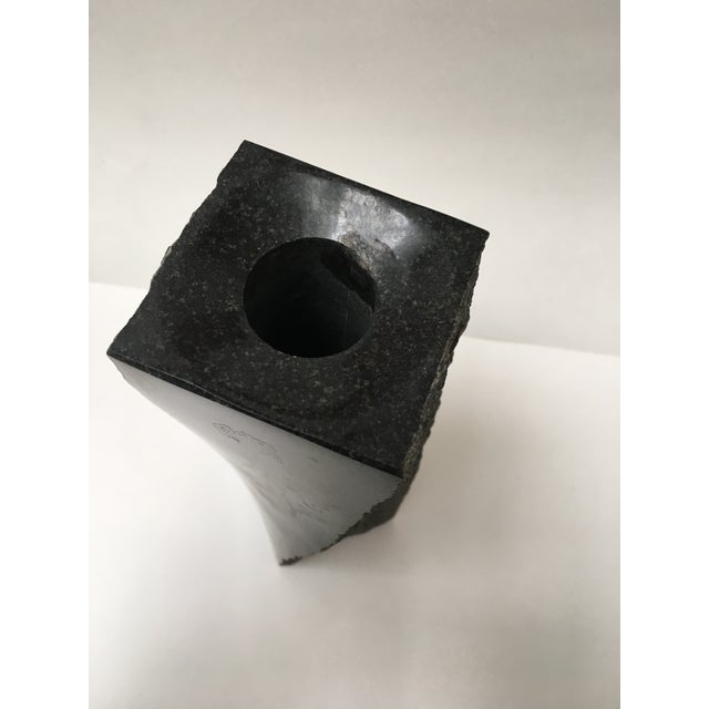 Stone Black Abstract Candleholder Pedestal - Image 5 of 6
