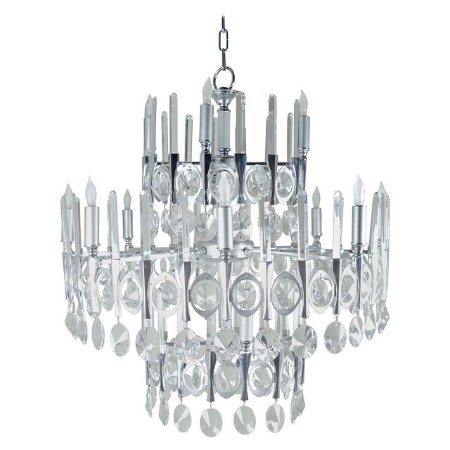 Gaetano Sciolari Large Three-Tier Modernist Crystal Chandelier, Italy, 1960s For Sale - Image 9 of 9