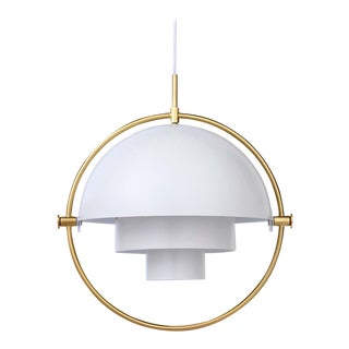 Louis Weisdorf 'Multi-Lite' Pendant Lamp in White / Brass For Sale