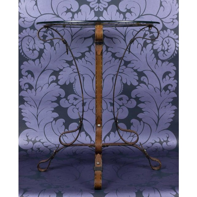 """Unique French """"Leather"""" Wrought Iron Table With Glass Top - Image 2 of 11"""