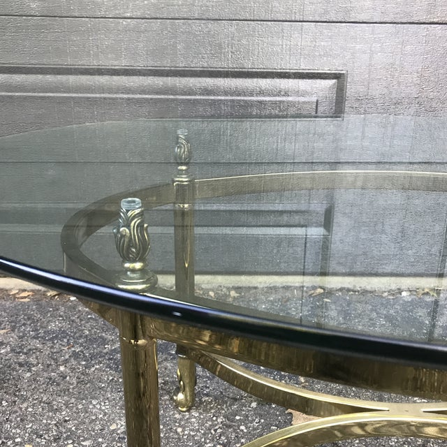 Brass Hollywood Regency Brass and Glass Coffee Table by LaBarge For Sale - Image 8 of 9