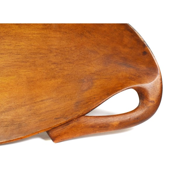 Contemporary 20th Century Carved Solid Wood Leaf Shape Dish For Sale - Image 3 of 6