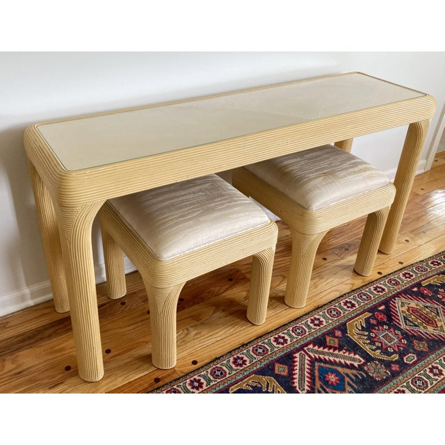 Gabriella Crespi Pencil Reed Console With Two Coordinating Benches, S/3 For Sale - Image 4 of 10