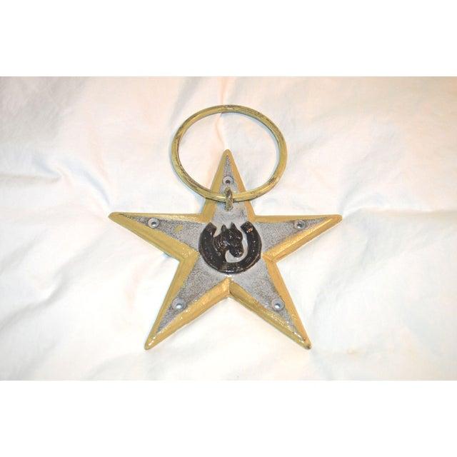 1960s Horsehoe and Star Iron Door Knocker For Sale - Image 5 of 11